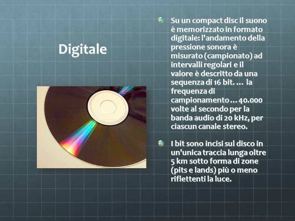 Digitale Su un compact disc il suono è memorizzato in formato digitale: l'andamento della pressione sonora è misurato (campionato) ad intervalli regol