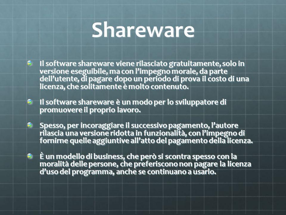 Shareware Il software shareware viene rilasciato gratuitamente, solo in versione eseguibile, ma con limpegno morale, da parte dellutente, di pagare do