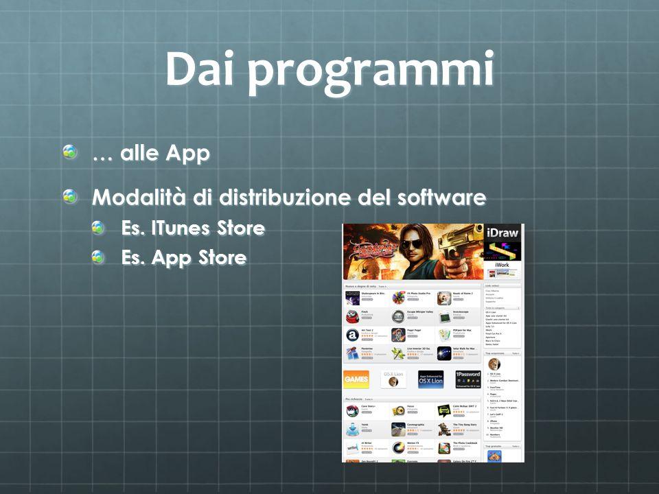 Dai programmi … alle App Modalità di distribuzione del software Es. ITunes Store Es. App Store