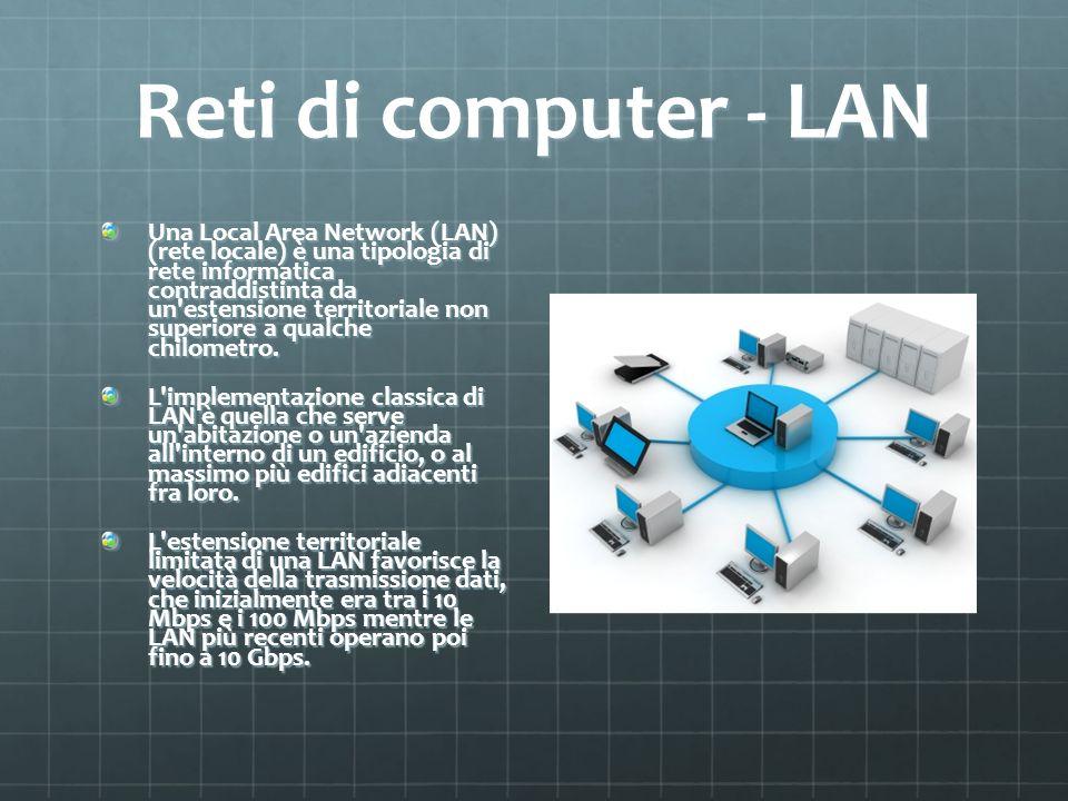 Reti di computer - LAN Una Local Area Network (LAN) (rete locale) è una tipologia di rete informatica contraddistinta da un'estensione territoriale no