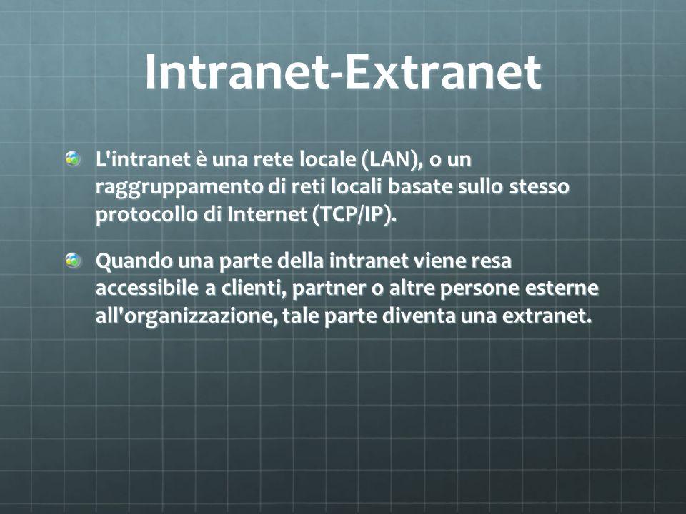 Intranet-Extranet L'intranet è una rete locale (LAN), o un raggruppamento di reti locali basate sullo stesso protocollo di Internet (TCP/IP). Quando u
