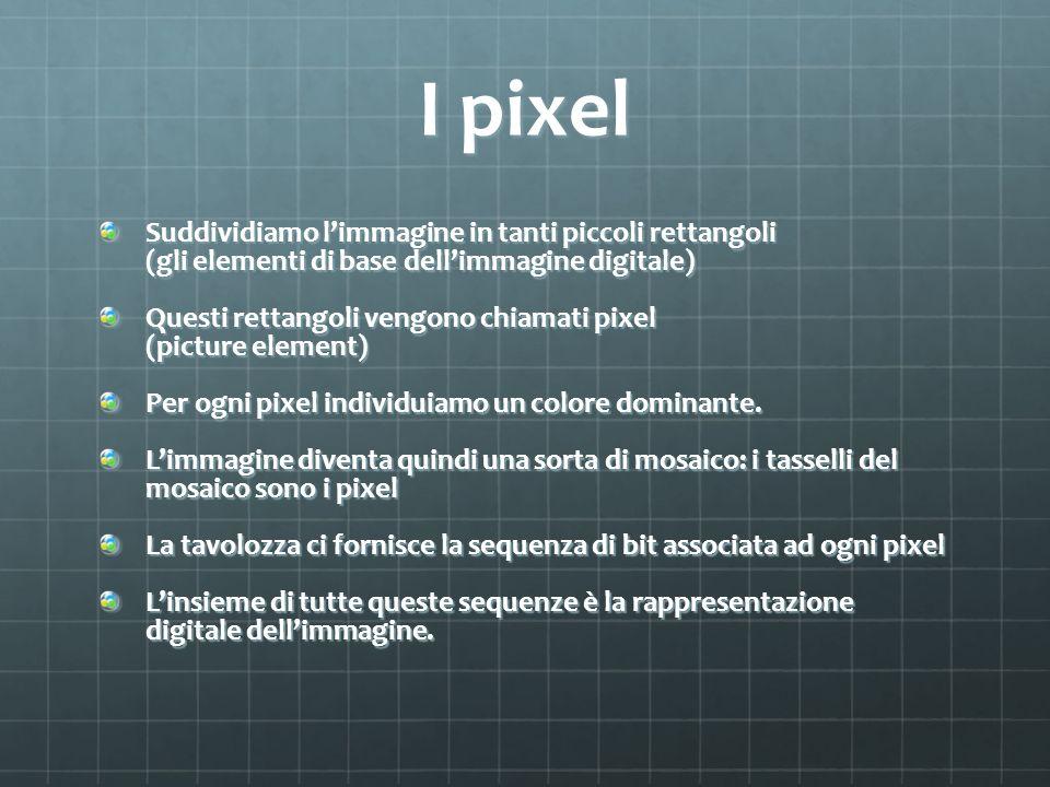 I pixel Suddividiamo limmagine in tanti piccoli rettangoli (gli elementi di base dellimmagine digitale) Questi rettangoli vengono chiamati pixel (pict