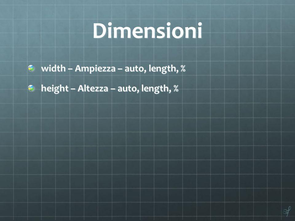 Dimensioni width – Ampiezza – auto, length, % height – Altezza – auto, length, %