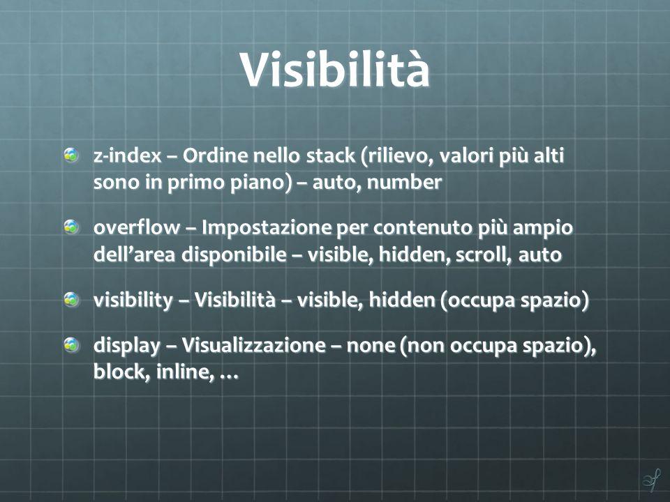 Visibilità z-index – Ordine nello stack (rilievo, valori più alti sono in primo piano) – auto, number overflow – Impostazione per contenuto più ampio