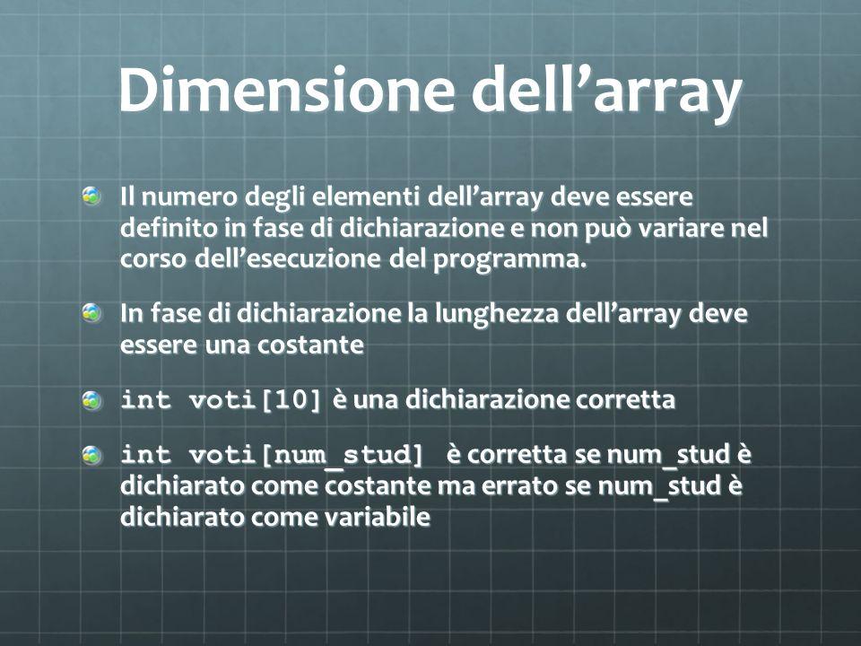 Dimensione dellarray Il numero degli elementi dellarray deve essere definito in fase di dichiarazione e non può variare nel corso dellesecuzione del p