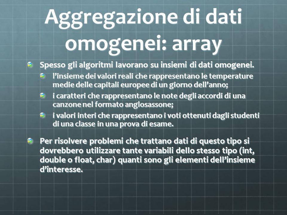 Aggregazione di dati omogenei: array Spesso gli algoritmi lavorano su insiemi di dati omogenei. linsieme dei valori reali che rappresentano le tempera