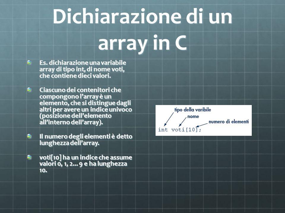 Dichiarazione di un array in C Es. dichiarazione una variabile array di tipo int, di nome voti, che contiene dieci valori. Ciascuno dei contenitori ch