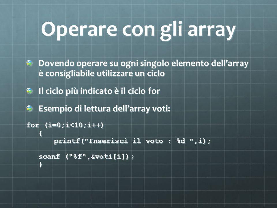 Operare con gli array Dovendo operare su ogni singolo elemento dellarray è consigliabile utilizzare un ciclo Il ciclo più indicato è il ciclo for Esem
