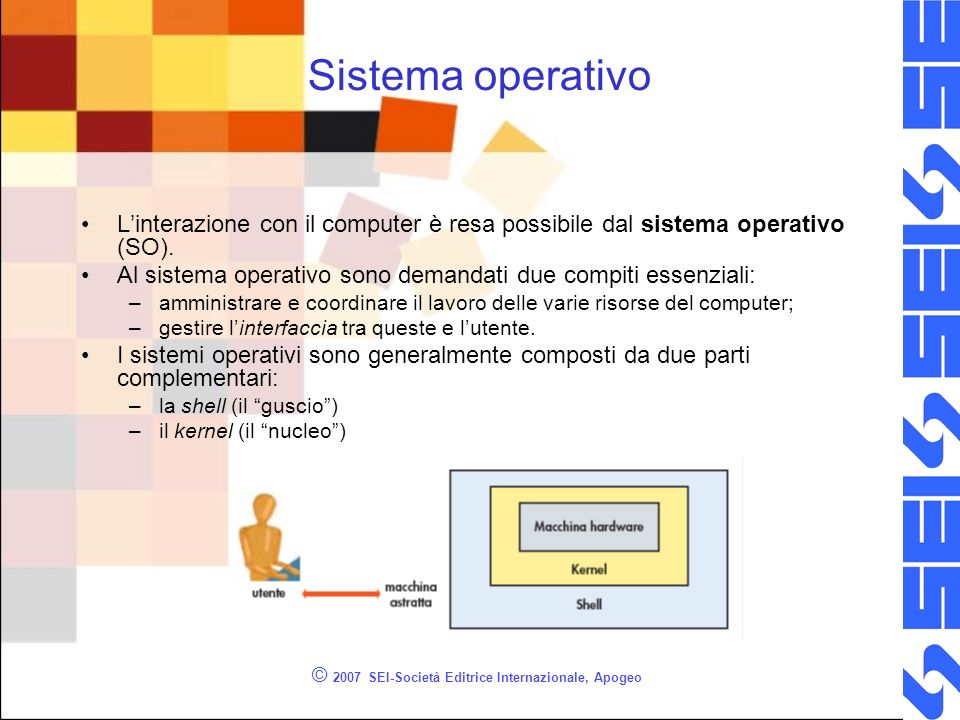© 2007 SEI-Società Editrice Internazionale, Apogeo Sistema operativo Linterazione con il computer è resa possibile dal sistema operativo (SO).