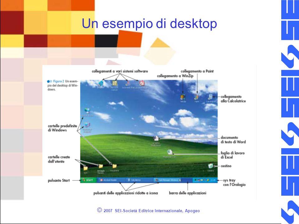 © 2007 SEI-Società Editrice Internazionale, Apogeo Finestre (window) Una finestra può racchiudere lambiente in cui opera un programma quale un word processor o un software di grafica Riportare informazioni o mostrare un pannello in cui effettuare scelte e immettere dati