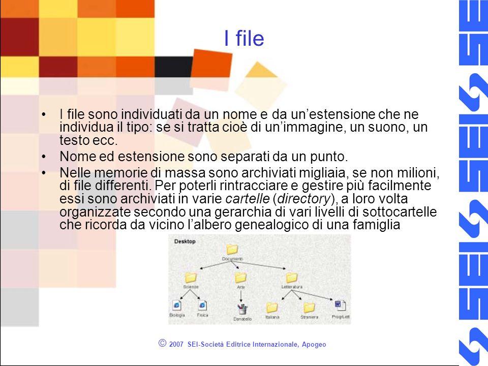 © 2007 SEI-Società Editrice Internazionale, Apogeo I file I file sono individuati da un nome e da unestensione che ne individua il tipo: se si tratta cioè di unimmagine, un suono, un testo ecc.