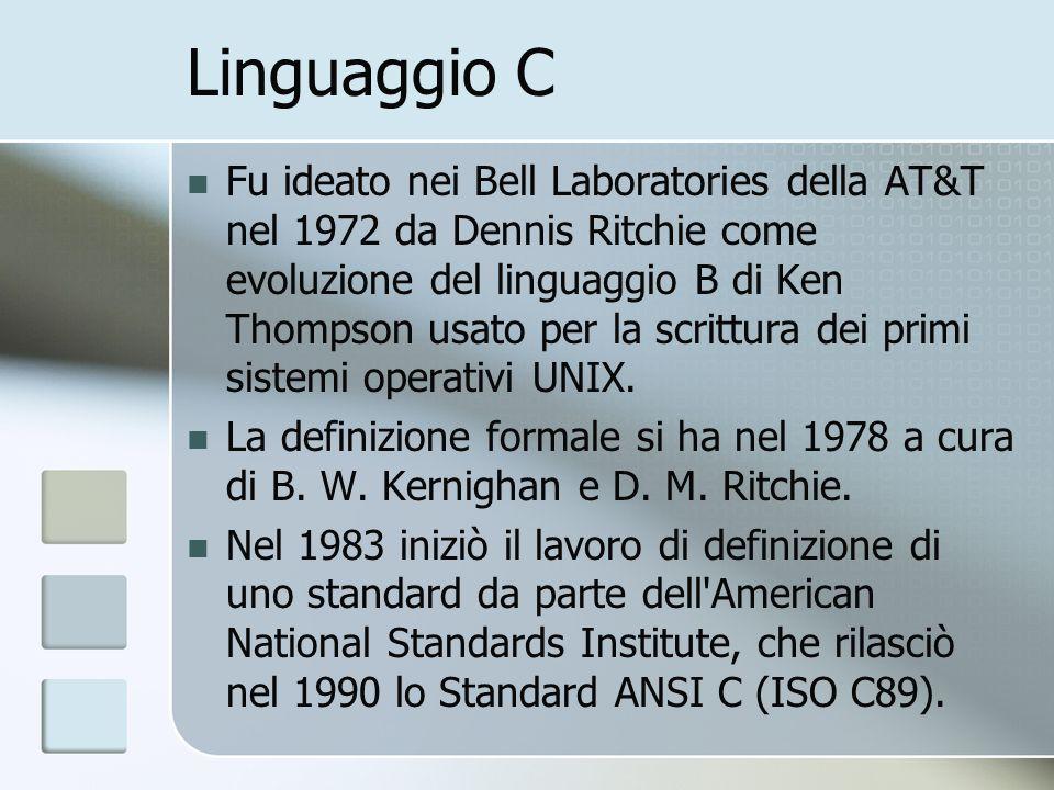 Linguaggio C Fu ideato nei Bell Laboratories della AT&T nel 1972 da Dennis Ritchie come evoluzione del linguaggio B di Ken Thompson usato per la scrit
