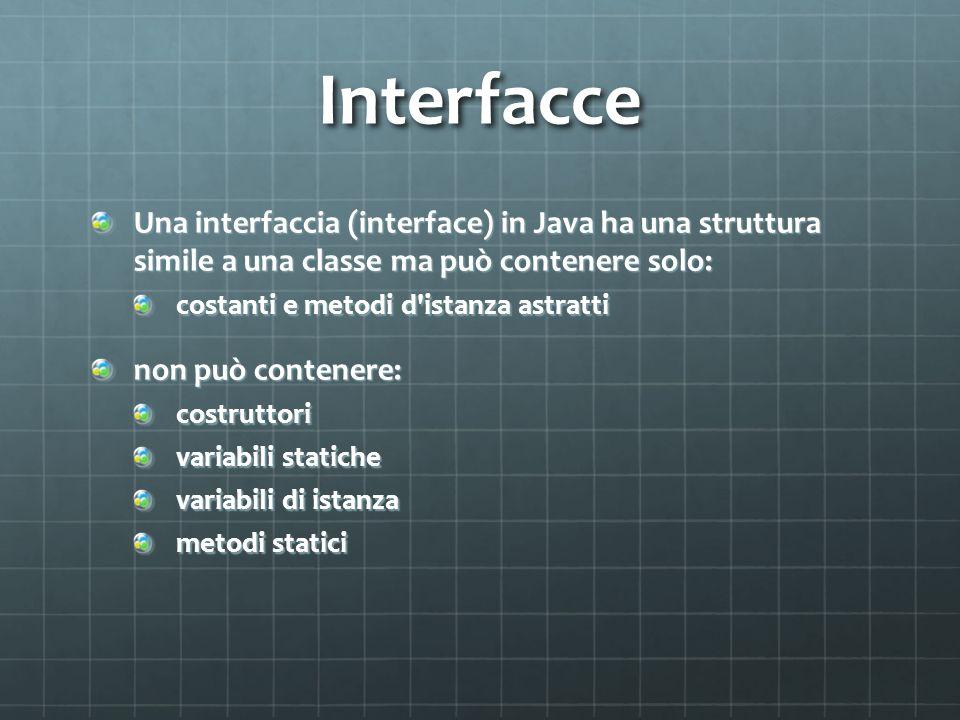 Interfacce Una interfaccia (interface) in Java ha una struttura simile a una classe ma può contenere solo: costanti e metodi d'istanza astratti non pu