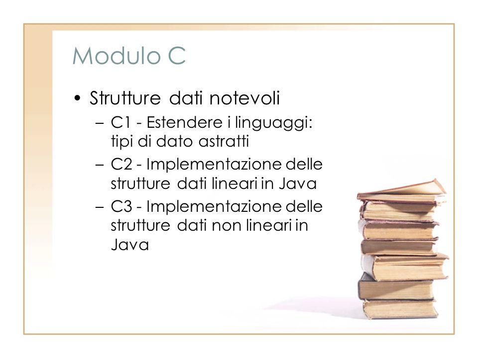 Modulo C Strutture dati notevoli –C1 - Estendere i linguaggi: tipi di dato astratti –C2 - Implementazione delle strutture dati lineari in Java –C3 - Implementazione delle strutture dati non lineari in Java