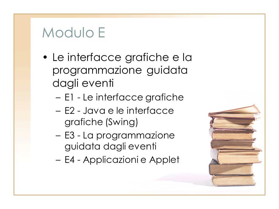 Modulo E Le interfacce grafiche e la programmazione guidata dagli eventi –E1 - Le interfacce grafiche –E2 - Java e le interfacce grafiche (Swing) –E3 - La programmazione guidata dagli eventi –E4 - Applicazioni e Applet