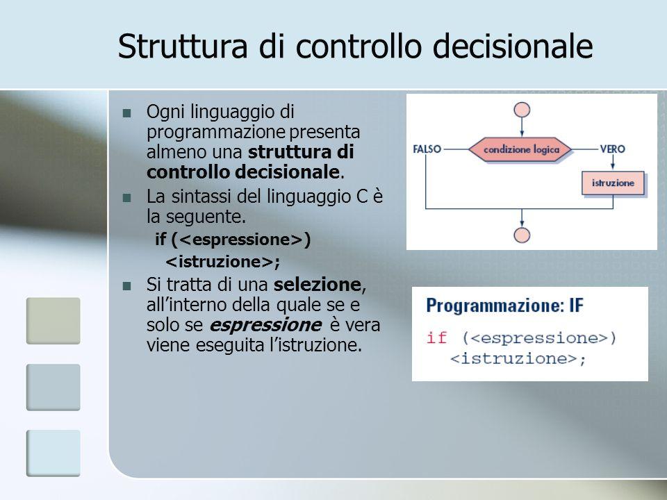 Struttura di controllo decisionale Ogni linguaggio di programmazione presenta almeno una struttura di controllo decisionale. La sintassi del linguaggi
