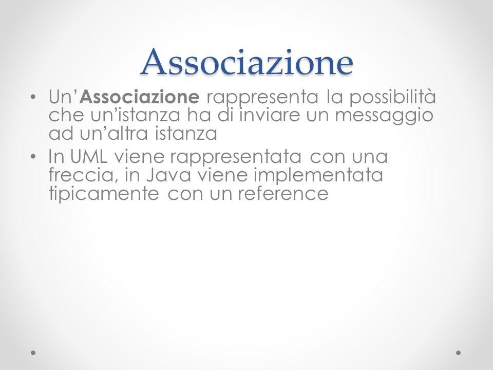 Associazione Un Associazione rappresenta la possibilità che un istanza ha di inviare un messaggio ad un altra istanza In UML viene rappresentata con u