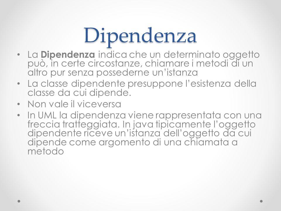 Dipendenza La Dipendenza indica che un determinato oggetto può, in certe circostanze, chiamare i metodi di un altro pur senza possederne unistanza La