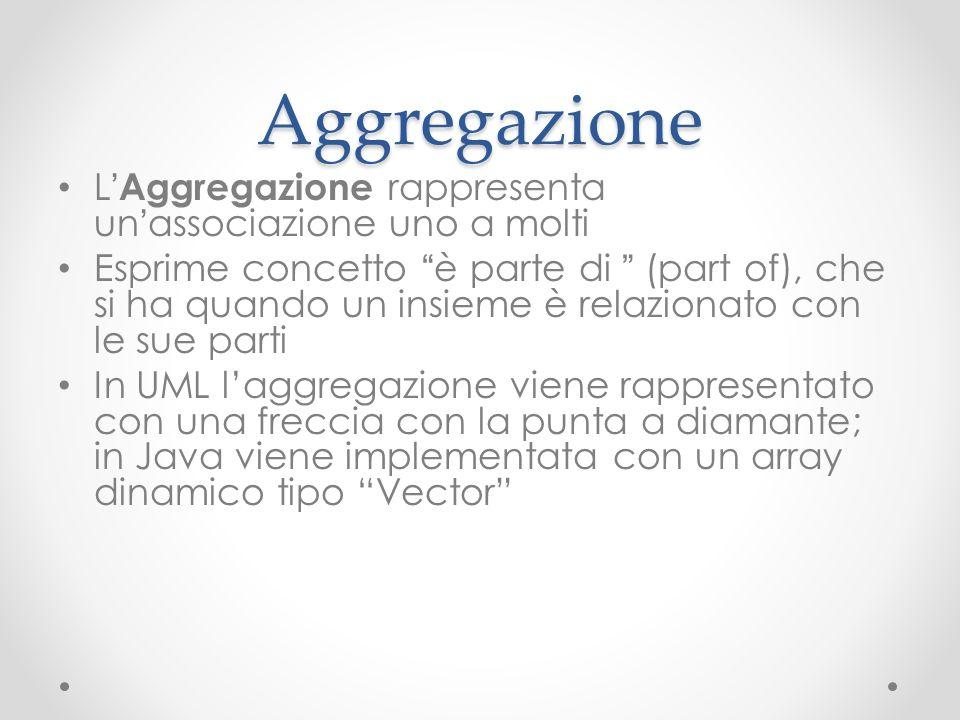 Aggregazione L Aggregazione rappresenta un associazione uno a molti Esprime concetto è parte di (part of), che si ha quando un insieme è relazionato c