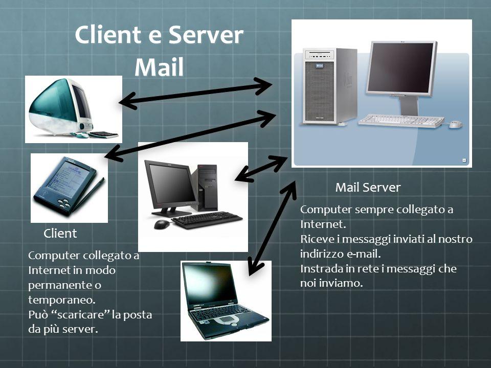Client e Server Mail Computer sempre collegato a Internet. Riceve i messaggi inviati al nostro indirizzo e-mail. Instrada in rete i messaggi che noi i