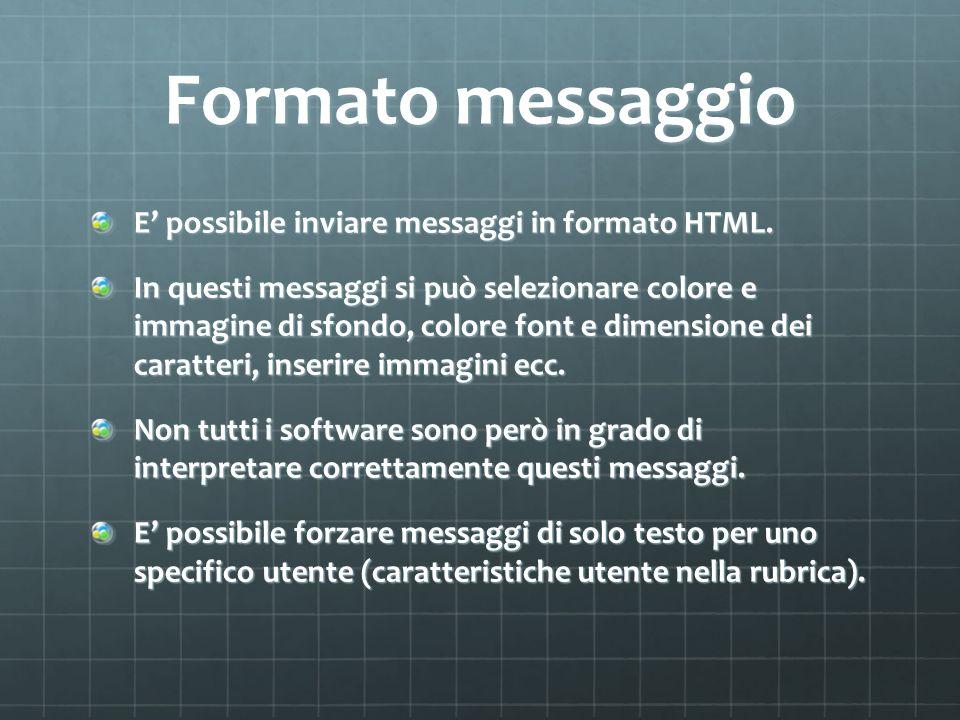 Formato messaggio E possibile inviare messaggi in formato HTML. In questi messaggi si può selezionare colore e immagine di sfondo, colore font e dimen