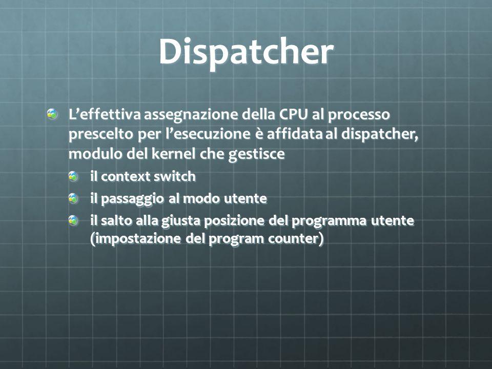 Dispatcher Leffettiva assegnazione della CPU al processo prescelto per lesecuzione è affidata al dispatcher, modulo del kernel che gestisce il context switch il passaggio al modo utente il salto alla giusta posizione del programma utente (impostazione del program counter)
