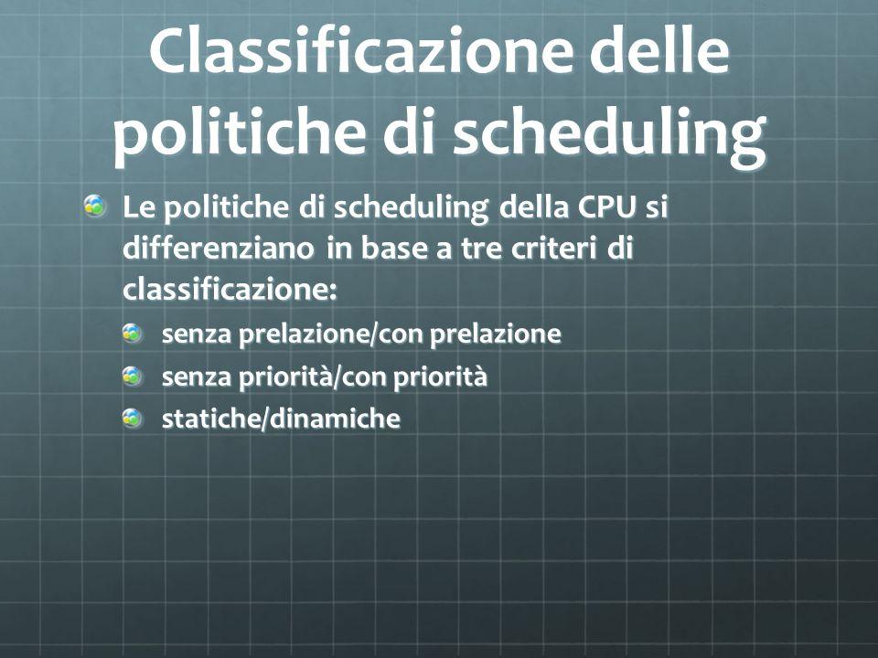 Classificazione delle politiche di scheduling Le politiche di scheduling della CPU si differenziano in base a tre criteri di classificazione: senza prelazione/con prelazione senza priorità/con priorità statiche/dinamiche