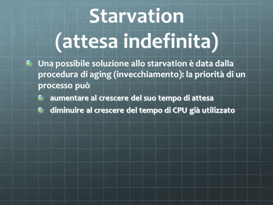 Starvation (attesa indefinita) Una possibile soluzione allo starvation è data dalla procedura di aging (invecchiamento): la priorità di un processo può aumentare al crescere del suo tempo di attesa diminuire al crescere del tempo di CPU già utilizzato