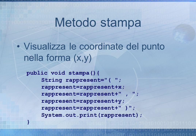 Metodo stampa Visualizza le coordinate del punto nella forma (x,y) public void stampa(){ String rappresent=