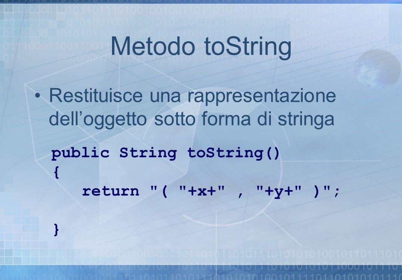 Metodo toString Restituisce una rappresentazione delloggetto sotto forma di stringa public String toString() { return