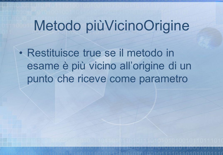 Metodo piùVicinoOrigine Restituisce true se il metodo in esame è più vicino allorigine di un punto che riceve come parametro