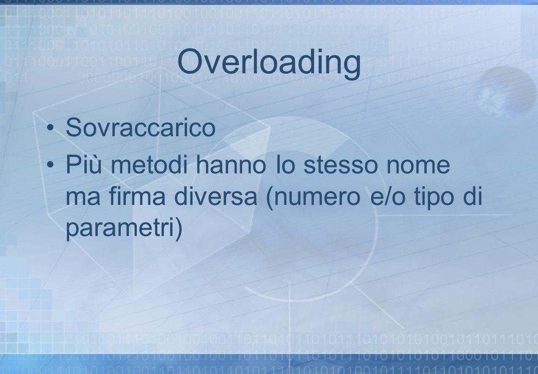 Overloading Sovraccarico Più metodi hanno lo stesso nome ma firma diversa (numero e/o tipo di parametri)