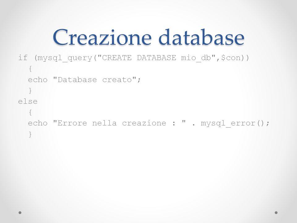 Creazione database if (mysql_query(