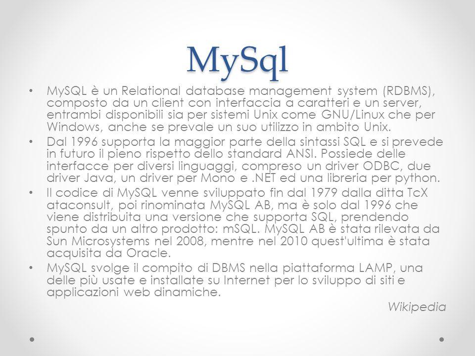 MySql MySQL è un Relational database management system (RDBMS), composto da un client con interfaccia a caratteri e un server, entrambi disponibili si