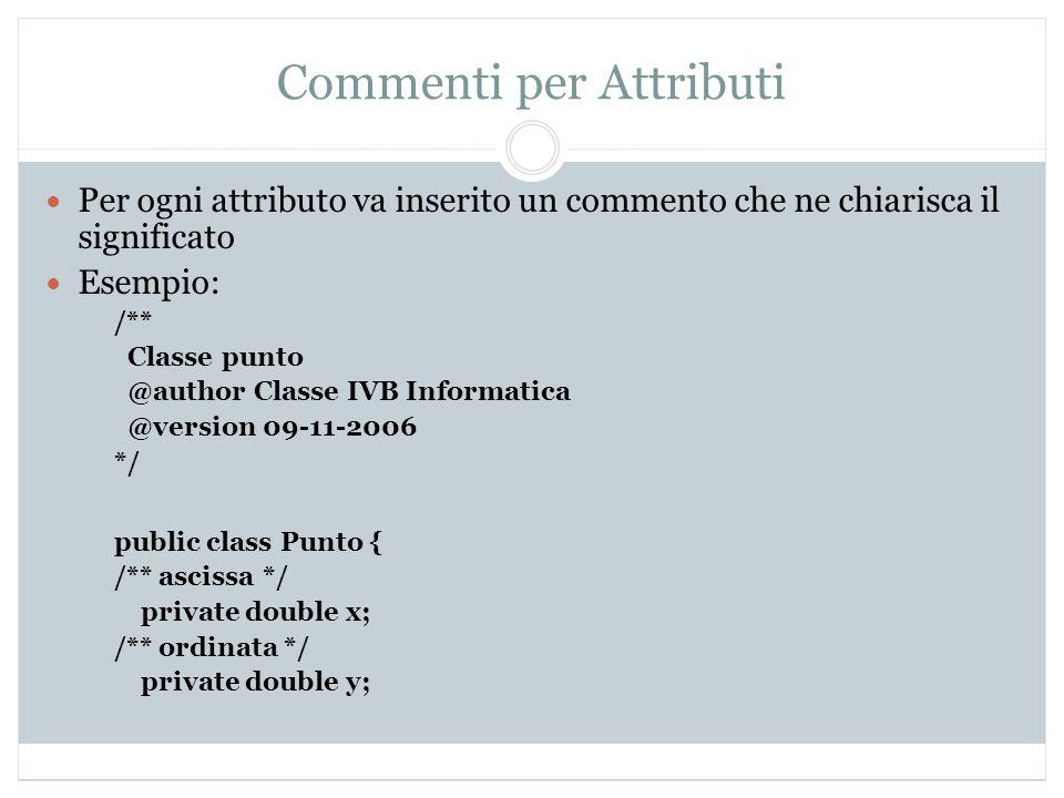 Commenti per Attributi Per ogni attributo va inserito un commento che ne chiarisca il significato Esempio: /** Classe punto @author Classe IVB Informa