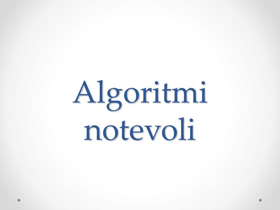 Algoritmi Ricerca (verificare la presenza di un valore in un array) o Ricerca sequenziale (array non ordinato) o Ricerca sequenziale (array ordinato) o Ricerca binaria (array ordinato) Ordinamento (ordinare i valori allinterno di un array in modo crescente o decrescente) o Stupid Sort o Selection Sort o Bubble Sort