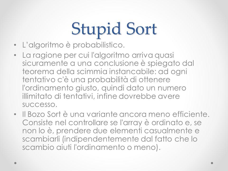 Stupid Sort Lalgoritmo è probabilistico. La ragione per cui l'algoritmo arriva quasi sicuramente a una conclusione è spiegato dal teorema della scimmi