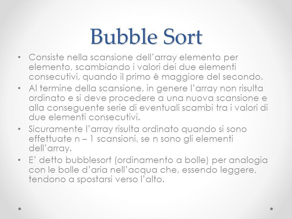 Bubble Sort Consiste nella scansione dellarray elemento per elemento, scambiando i valori dei due elementi consecutivi, quando il primo è maggiore del
