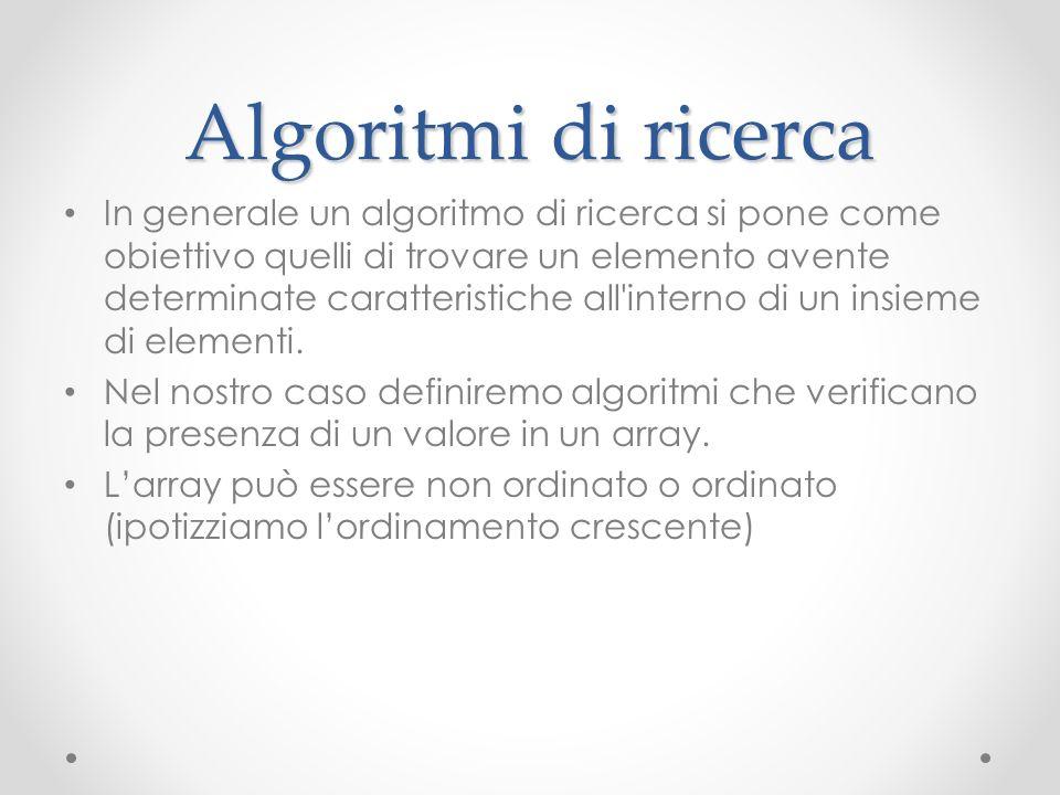 Algoritmi di ricerca In generale un algoritmo di ricerca si pone come obiettivo quelli di trovare un elemento avente determinate caratteristiche all'i