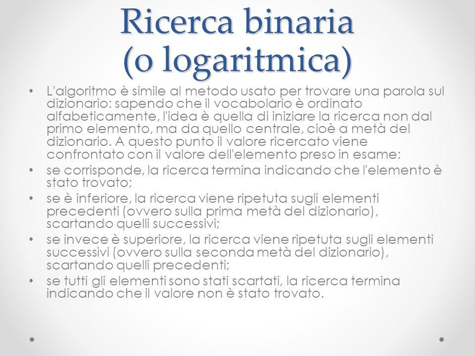 Ricerca binaria (o logaritmica) L'algoritmo è simile al metodo usato per trovare una parola sul dizionario: sapendo che il vocabolario è ordinato alfa