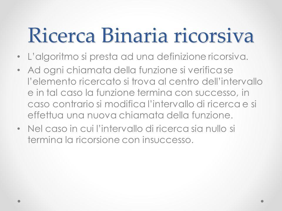 Ricerca Binaria ricorsiva Lalgoritmo si presta ad una definizione ricorsiva. Ad ogni chiamata della funzione si verifica se lelemento ricercato si tro