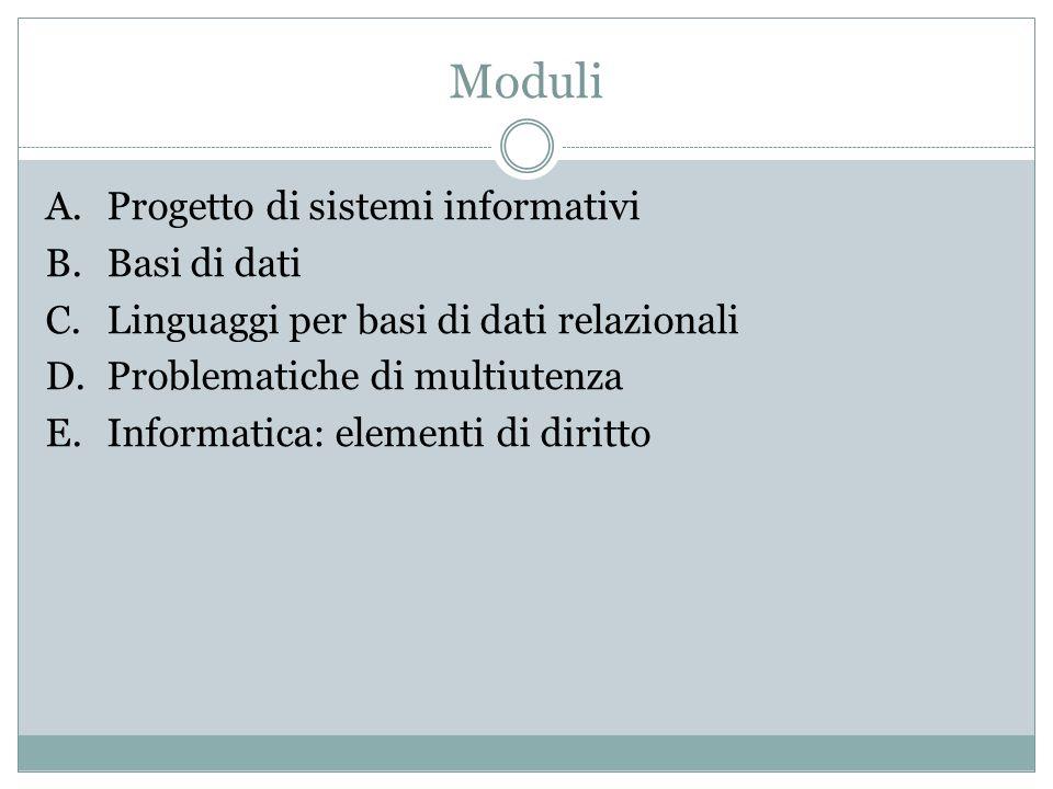 Moduli A.Progetto di sistemi informativi B.Basi di dati C.Linguaggi per basi di dati relazionali D.Problematiche di multiutenza E.Informatica: elementi di diritto