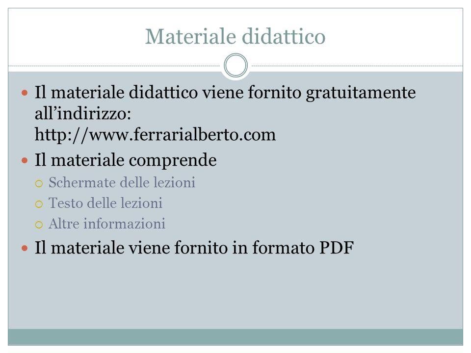 Materiale didattico Il materiale didattico viene fornito gratuitamente allindirizzo: http://www.ferrarialberto.com Il materiale comprende Schermate de