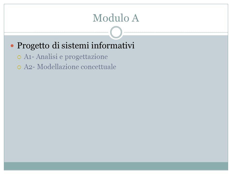 Modulo A Progetto di sistemi informativi A1- Analisi e progettazione A2- Modellazione concettuale