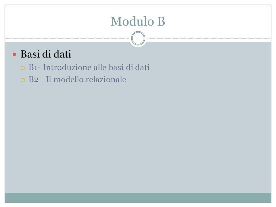 Modulo B Basi di dati B1- Introduzione alle basi di dati B2 - Il modello relazionale