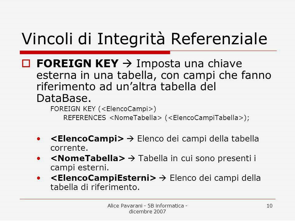 Alice Pavarani - 5B informatica - dicembre 2007 10 Vincoli di Integrità Referenziale FOREIGN KEY Imposta una chiave esterna in una tabella, con campi