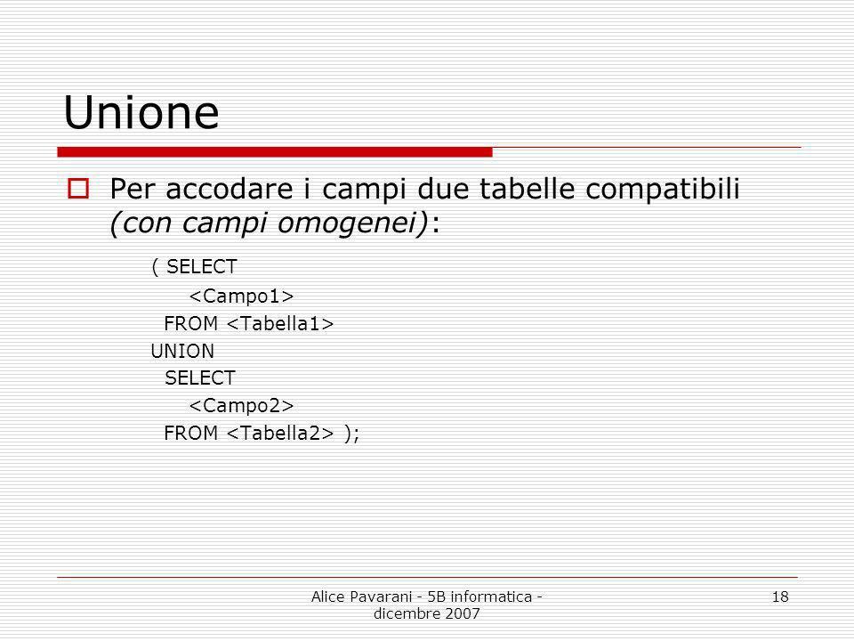 Alice Pavarani - 5B informatica - dicembre 2007 18 Unione Per accodare i campi due tabelle compatibili (con campi omogenei): ( SELECT FROM UNION SELEC