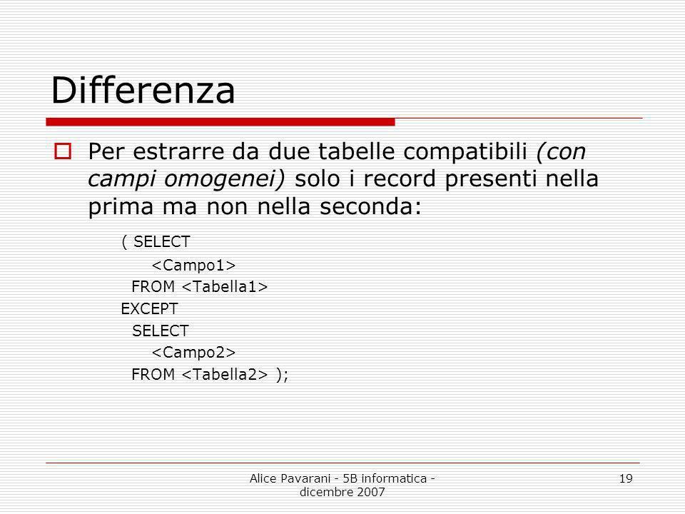 Alice Pavarani - 5B informatica - dicembre 2007 19 Differenza Per estrarre da due tabelle compatibili (con campi omogenei) solo i record presenti nell