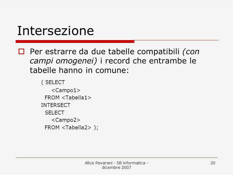 Alice Pavarani - 5B informatica - dicembre 2007 20 Intersezione Per estrarre da due tabelle compatibili (con campi omogenei) i record che entrambe le