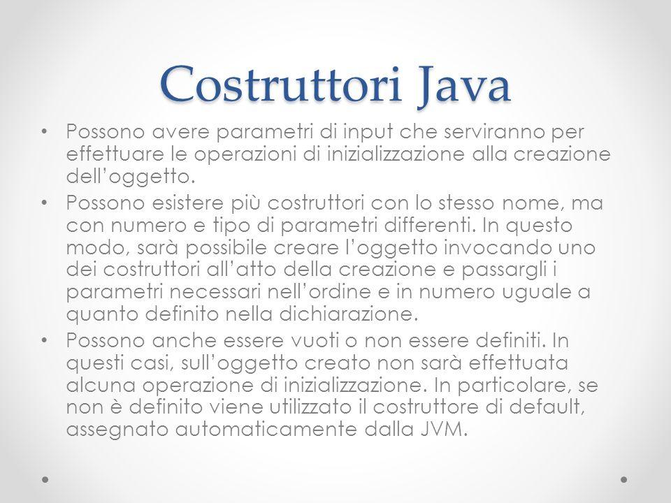 Costruttori Java Possono avere parametri di input che serviranno per effettuare le operazioni di inizializzazione alla creazione delloggetto. Possono